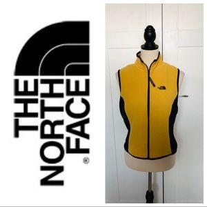 North face yellow fleece sleeveless jacket vest